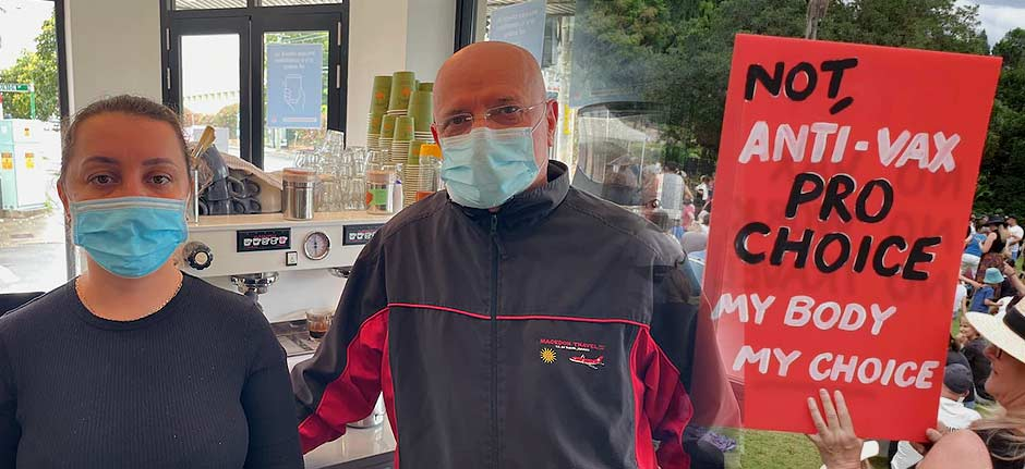 Sydney Café grateful for support after anti-vaxxer ambush