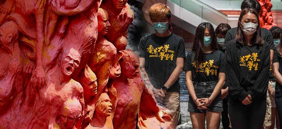 Tiananmen square tribute: washing the 'Pillar of Shame'