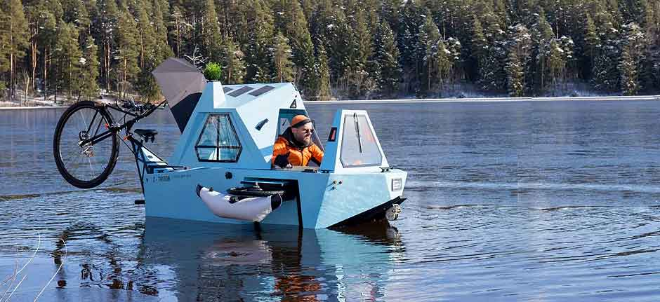 tiny electric camper combines house, trike and boat