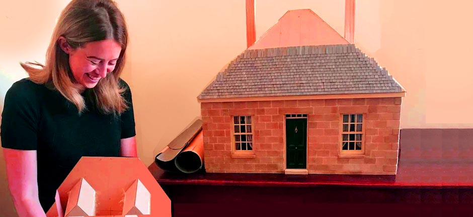Tasmanian creates sandstone convict cottage doll's house