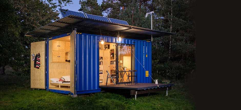Ultra-cool self-sufficient tiny cabin made from container!